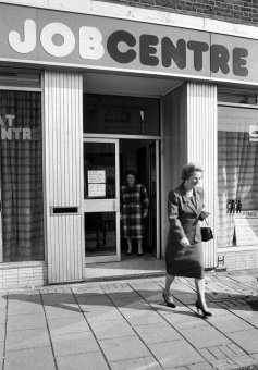 British Prime Minister Margaret Thatcher leaves a job centre, Finchley, London 1990.