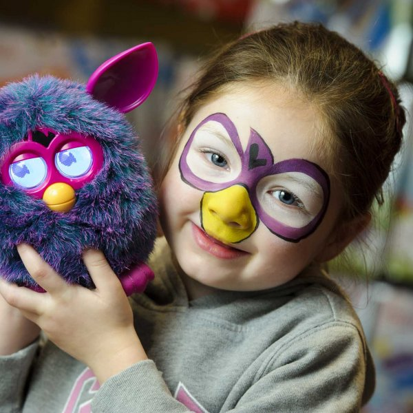 furby 043  © Licensed to simonjacobs.com. 23/09/2012 London, UK.  Megan Lomax 4, is one of the first to meet the brand new interactive Furby at Hamley's toy store, Regent Street , London. The adorable plush Furby is set to be the must have toy for this Christmas and goes on sale nationwide from Monday 24th September.