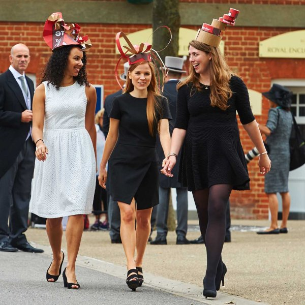 LEX17062015-60 large  17/06/2015  Ascot, UK. Rhianna Monroe, Sandie Jennings and Harriet Sharpe wearing hats made from Pizza Hut boxes at Royal Ascot.