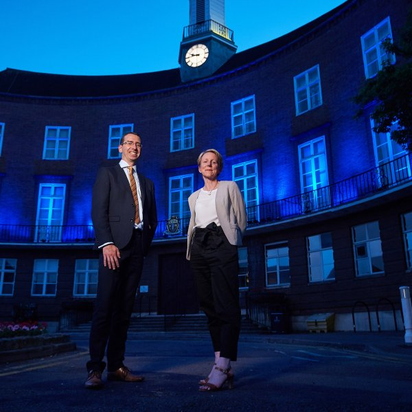 NHS_Blue_Lights_SJ_018  © Licensed to simonjacobs.com. 05/07/2018 London, UK. Watford Town Hall is lit with blue lights to celebrate the 70th anniversary of the formation of the NHS.