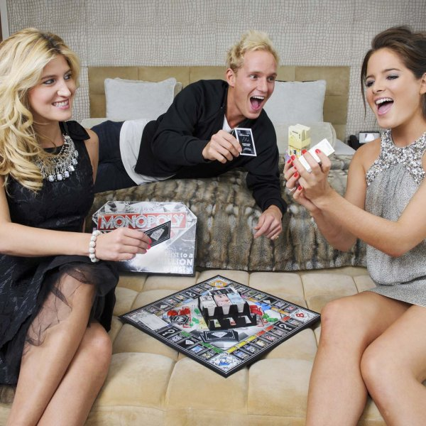 party 009a  © Licensed to simonjacobs.com. 04/10/2012 London, UK.  Made in Chelsea stars Cheska Hull, Jamie Laing and Binky Felstead playing Monopoly Millionaire the latest version of the iconic game, at The May Fair hotel, London. Photo credit: Simon Jacobs.