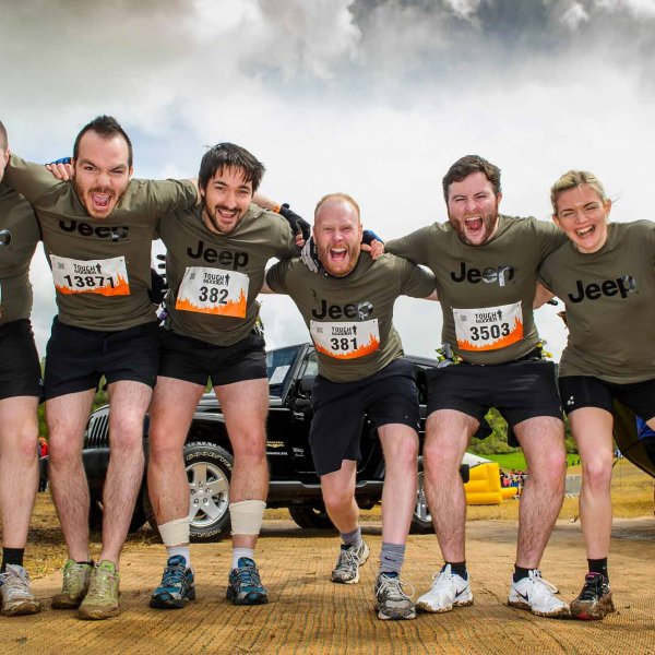 tough_mudder_033  © Licensed to simonjacobs.com. 26/04/2014 London, UK. Members of Team Jeep before the Tough Mudder, a 12 mile obstacle course challenge, Henley on Thames, UK.